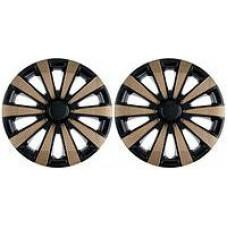 Колпаки колесные декоративные (комплект 4 шт.) R15 (Карат Super Black Gold) (Star)