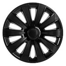 Колпаки колесные декоративные (комплект 4 шт.) R16 (Карат черный) (Star)